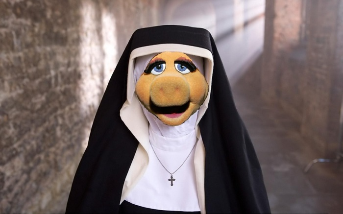 Miss Piggy as Nun