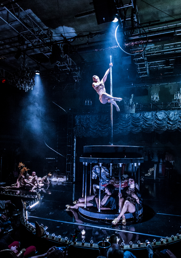 Marcy Richardson as Athena on pole Photo Credit: Mark Shelby Perry