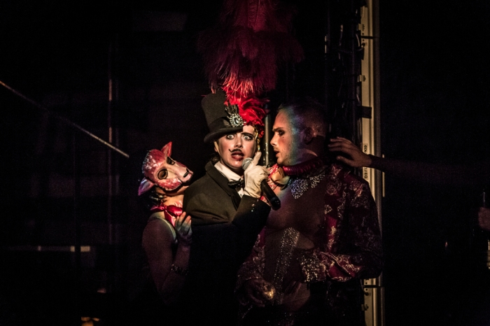 (L-R) Charlotte Bydwell (center) as Zeus/Fifi and Jakob Karr as Paris Photo Credit: Mark Shelby Perry